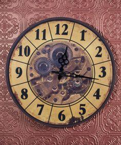 Modern Contemporary Mechanical Gear Wall Clock with Calendar Wheel