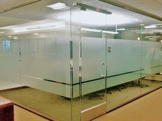 Taking the 'fishbowl' effect out of a conference room is easy with decorative window film. We fixed Morgan Stanley's new office up with a clean design using Edge Crystal Frost. Corporate Office Design, Modern Office Design, Office Interior Design, Office Interiors, Glass Film Design, Office Fit Out, Office Pictures, Glass Office, Clinic Design