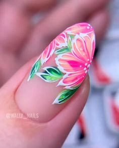 Flowers Nail Art ideas 2020 step by step tutorial Nail Art Designs Videos, Cute Nail Art Designs, Nail Art Videos, Simple Nail Designs, Nail Art Disney, Beach Nail Art, Beach Nails, Fruit Nail Designs, Fruit Nail Art