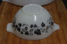 Vintage JAJ Pyrex Black on White Gooseberry Bowl Butter Dish, Pyrex, Spice Things Up, Cookware, Retro, Tableware, Vintage, Black, Diy Kitchen Appliances