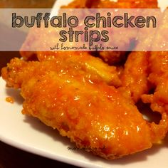 These easy homemade buffalo chicken strips are the perfect recipe for game day this Sunday!
