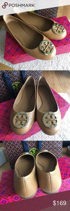 Tory Burch Reva Ballet Royal Tan/Gold Reva Ballet Royal Tan/Gold. Brand new with bag, box and dust bag. Some say they run big but I wear size 8 and they're perfect for me. Don't hesitate to ask questions or make an offer! Tory Burch Shoes Flats & Loafers