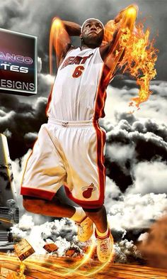 At miami James became on fire whit his soul made, Wade. Till this moment his fire hasn´t stopped Slam Dunk, Basketball Art, Basketball Players, Michael Jordan, Lebron James Miami Heat, Nike Motivation, King Lebron, Nike High Tops, Nba Champions