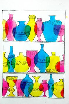 Murano glassware shelf using permanent marker and watercolor by arteascuola. Lesson in primary and secondary colors.
