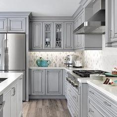 57 characteristics of grey kitchen ideas refined interior designs 31 Grey Kitchen Cabinets, Kitchen Cabinet Colors, Kitchen Redo, Home Decor Kitchen, New Kitchen, Kitchen Counters, Grey Tile Floor Kitchen, Kitchen Island, Kitchen Brick