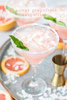 Coconut Grapefruit Margaritas Recipe- beautiful, delicious and perfect for summer celebrations.