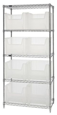 "Quantum Storage Systems WR5-800CL 5-Tier Complete Wire Shelving System with 8 QGH800CL Clear-View Giant Stack Bins, Chrome Finish, 18"" Width x 36"" Length x 74"" Height by Quantum. $345.89. Genuine Quantum modular wire systems offer a unique combination of shelf and post sizes in a variety of finishes to compliment any application. The split sleeve and grooved numbered posts allow for easy and quick assembly. The all welded shelf construction is supported with a..."