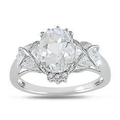 Miadora 10k White Gold White Topaz and Diamond Accent Ring | Overstock.com Shopping - Top Rated Miadora Gemstone Rings