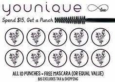 The second thing I am offering to my VIP customers only, is the loyalty punch card!  It will be a virtual card, that we can keep track of and you get a punch for every $15 you spend.  If you book a party and it qualifies, I will give you 3 punches.  1 card per customer!  Must be in VIP Group.  Message me at link below.  Follow me @  https://www.facebook.com/YouniquebyReneeBowne/
