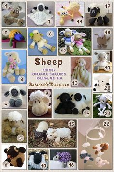 Sheep Toys & Loveys - Animal Crochet Pattern Round Up via @beckastreasures