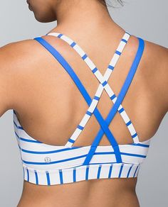 Pretty blue stripes energy bra from Lululemon