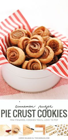 Mini pinwheel cookies made of pie crust and cinnamon sugar. A family recipe you'll want to claim as your own!