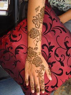 Rose Stencil Henna Design