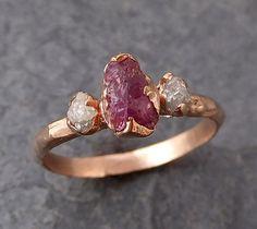 Pink Gemstone Ring Three stone Ring