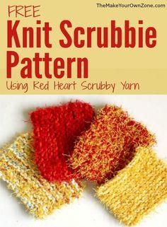 Scrubbie Knitting Pattern using Red Heart Scrubby Yarn - If you like to knit hom. Scrubbie Knitting Pattern using Red Heart Scrubby Yarn - If you like to knit homemade scrubbies but hate cutting up the . Knitted Washcloth Patterns, Knitted Washcloths, Dishcloth Knitting Patterns, Knit Dishcloth, Knit Patterns, Stitch Patterns, Knit Cowl, Knit Vest, Easy Knitting