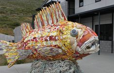 Henry the fish, is made from hundreds of pounds of trash collected from beaches in Oregon.