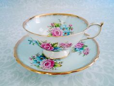 Vintage Tea Cup and Saucer in Pastel Blue  by SwirlingOrange11, $45.00