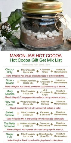 This mason jar hot cocoa gift is a fun gift to make and is such a frugal holiday treat idea. Click through for 7 cocoa recipes with a dry mix! via jar Crafts Mason Jar Hot Cocoa Gift with Printable Tag Mason Jar Meals, Meals In A Jar, Mason Jar Diy, Gifts In Mason Jars, Mason Jar Recipes, Diy Gifts In A Jar, Gift Jars, Homemade Food Gifts, Diy Food Gifts
