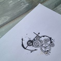 Watercolor gears and anchor tattoo design
