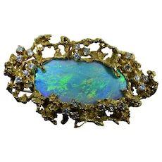 Vintage Arthur King Opal and Diamond Pendant and Brooch in 18 Karat Yellow Gold Diamond Pendant, Brooch Pin, Turquoise Bracelet, Opal, Pendants, Lightning Ridge, Chain, Yellow, Bracelets