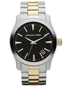 Michael Kors Watch, Men's Runway Two Tone Stainless Steel Bracelet 45mm MK7064 - All Watches - Jewelry & Watches - Macy's