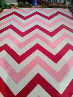 Chevron Rug, Pink and baby blue 6x8. $180.00, via Etsy.