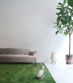 green rug.