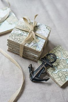 Nautical Chart Coaster for under candles on tables
