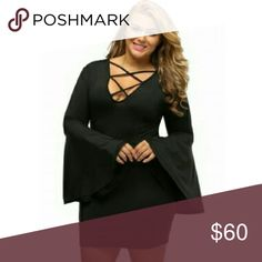 [Plus] Flared Sleeve Dress Figure flattering. Material is poly and spandex mix. Color is black. Sexy plunge neckline with lace up detail. Can be finished with heels or boots.  Sizes 1X (14/16) 2X (18/20)  3X (22/24)   Will be mailed SAME DAY  5 Star rated! Boutique Dresses Mini