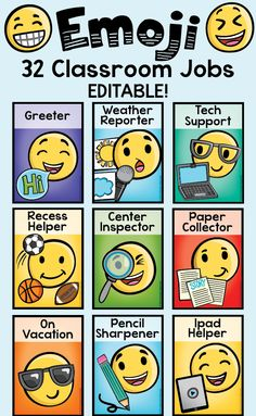 32 Editable Classroom Jobs labels, perfect for the emoji craze!