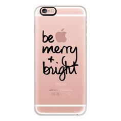 iPhone 6 Plus/6/5/5s/5c Case - Be Merry + Bright (Black Writing)... ($40) ❤ liked on Polyvore featuring accessories, tech accessories, iphone case, apple iphone cases, iphone cover case and black iphone case