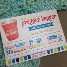 Celebrate your baby shower with a Pregger Kegger / Co-Ed Backyard Barbecue! These whimsical invitations are printed in fun colors that can be modified