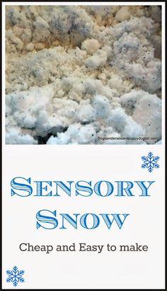 Easy Recipe for Sensory Snow blue glitter, peppermint extract, baking soda, and water. Sensory Table, Sensory Bins, Sensory Activities, Sensory Play, Preschool Activities, Stem Preschool, Sensory Motor, Sensory Bottles, Winter Fun