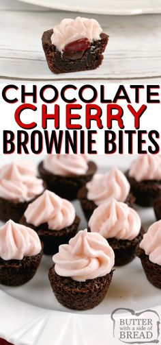 Chocolate Cherry Brownie Bites are mini brownies filled with chocolate chips, maraschino cherries and then topped with a cherry flavored cream cheese frosting! Simple brownie recipe that starts with a box of brownie mix. Mini Desserts, Finger Food Desserts, Bite Size Desserts, Easy Desserts, Delicious Desserts, Mini Chocolate Desserts, Chocolate Cherry Cupcakes, Chocolate Chocolate, Christmas Desserts