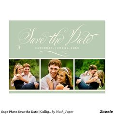 Sage Photo Save the Date   Calligraphy Script