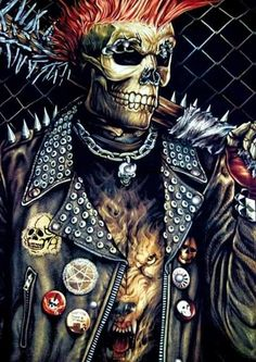 Badass punk skeleton