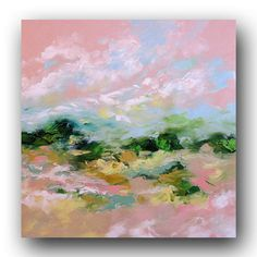 Size: 42 x 42 Title: Morning Hike Original contemporary landscape painting in gold, white, taupe, yellow, pink, light blue, and various shades of