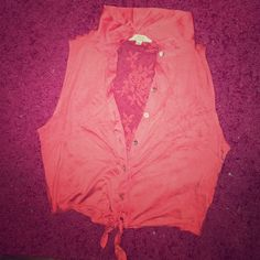 Pink Tank Top Never been worn. Sleeveless, mesh back, collar, tie front, button up. Tops Crop Tops