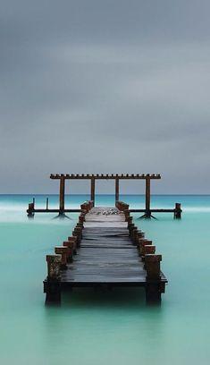 Abandoned pier in Playa Del Carmen, Mexico