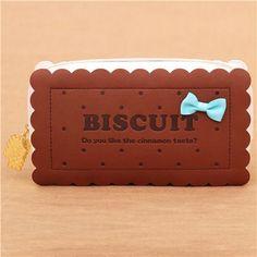 kawaii dark brown cookie biscuit pouch pencil case