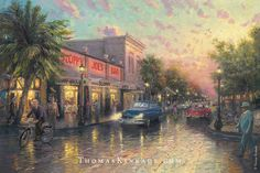 "Thomas Kinkade Summer Destinations  Today we travel to the southernmost tip of the Florida Keys in Thomas Kinkade's painting ""Key West"". This tropical paradise is known for its beautiful beaches, rich culture, and exciting live music and dancing. In this piece, Thom featured Sloppy Joe's Bar, a Key West landmark and a favorite haunt of author Ernest Hemingway."
