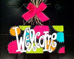 GEAUX GIRL DESIGNS Welcome sign. 6x12 Hand Painted Wood Welcome Sign Door Hanger by geauxgirldesigns, $33.00