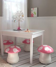 Kid's Pink Mushroom Chair - Set of Two // high mushroom stools / toadstools for girls woodland nursery, forest creatures bedroom or playroom!