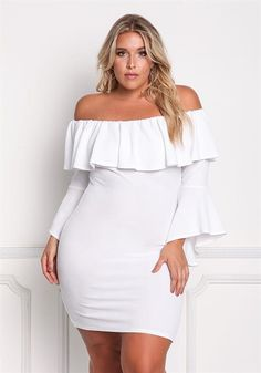 Plus Size Off Shoulder Layered Ruffle Bodycon Dress Plus Size Looks, Curvy Plus Size, Plus Size Girls, Plus Size Women, Chubby Fashion, Curvy Girl Fashion, Plus Size Dresses, Plus Size Outfits, Curvy Outfits
