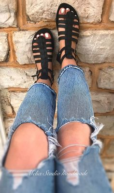 NEMESIS Gladiator Leather Sandals Genuine Leather Sandals | Etsy Leather Gladiator Sandals, Black Leather Sandals, Black Sandals, Pearl Sandals, Bridal Sandals, Bridesmaid Flats, Bohemian Sandals, Ancient Greek Sandals, Summer Shoes