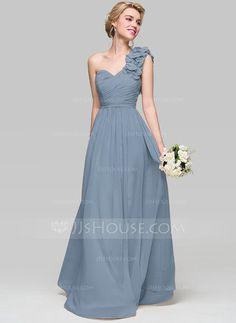 A-Line/Princess One-Shoulder Floor-Length Ruffle Flower(s) Zipper Up Cap Straps Sleeveless Champagne Spring Summer Fall General Plus Chiffon Height:5.7ft Bust:33in Waist:24in Hips:34in US 2 / UK 6 / EU 32 Bridesmaid Dress