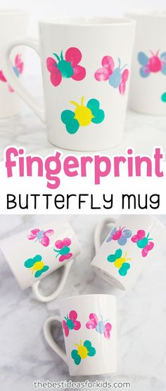 Thumprint Butterfly Mug Craft for Spring or Mother's Day. Mug Painting Ideas Mug Painting DIY Mug Painting Ideas Ceramic DIY coffee mugs Paint your own mug hand painted mugs. Diy Gifts For Mom, Mothers Day Crafts For Kids, Diy Mothers Day Gifts, Homemade Gifts, Diy For Kids, Kids Fun, Mothersday Gift Ideas, Mother Gifts, Mothers Day Ideas