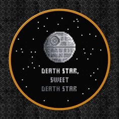 I'd like the finished hoop, but I could probably stitch it up myself if I got the pattern. Death Star, Sweet Death Star - Star Wars Cross Stitch PDF Pattern Download. $5.00, via Craftsy.