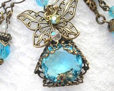 Heavenly Wings - Filigree Wrapped Glass Butterfly Necklace Set