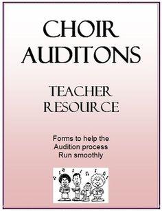 Choir audition forms from Teacherspayteachers!  Great forms for choir teachers and resource for students auditioning #elementarychorus #elementarymusic #chorusauditions